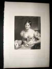 Aft Thomas Lawrence 1837 Folio Mezzotint Countess of Blessington Pretty Lady